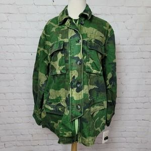 Free People Seize The Day Military Jacket Camo NWT